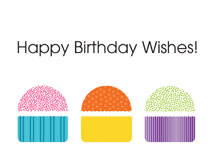 Colorful Cupcake Wishes Birthday Greeting Card